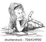 child girl writing in note book ... | Shutterstock .eps vector #706414900