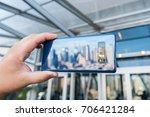 new york  august 2017   samsung ...   Shutterstock . vector #706421284