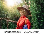 traditional red scarecrows in... | Shutterstock . vector #706423984