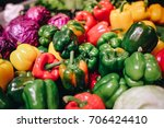 group of sweet bell peppers in... | Shutterstock . vector #706424410