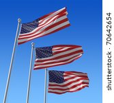 Three Flags Of Usa With Flag...
