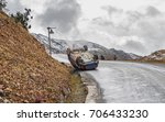car upside down on the roof on...   Shutterstock . vector #706433230