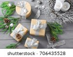 gift boxes and christmas...   Shutterstock . vector #706435528