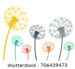 multi colored dandelions on a... | Shutterstock .eps vector #706439473