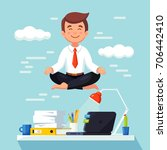business man meditating in... | Shutterstock .eps vector #706442410