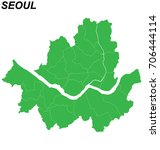 map of seoul with borders of... | Shutterstock .eps vector #706444114