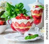 Small photo of Strawberry dessert trifle in glass