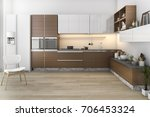 3d rendering wood loft kitchen... | Shutterstock . vector #706453324