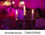 three candles lighting in a... | Shutterstock . vector #706453960