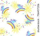 kids doodles hand drawing... | Shutterstock . vector #706457206
