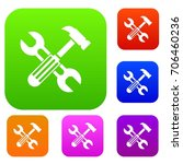 hammer and screw wrench set... | Shutterstock .eps vector #706460236