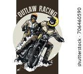 biker riding a vintage... | Shutterstock .eps vector #706460590