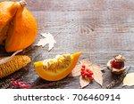 autumn pumpkin and leaves retro ...   Shutterstock . vector #706460914