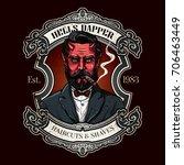 hand drawn barber shop logo in... | Shutterstock .eps vector #706463449