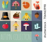 autumn collection flat icons... | Shutterstock .eps vector #706463998