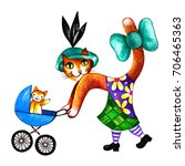 Old Fashioned Mother Cat With ...