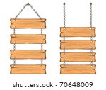 wooden sign on the chains. ... | Shutterstock .eps vector #70648009