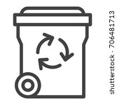 recycle bin line icon  outline...   Shutterstock .eps vector #706481713