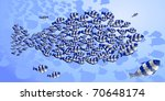 flock of fishes in the ocean   Shutterstock .eps vector #70648174