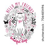 cat graphic for t shirt | Shutterstock .eps vector #706485496