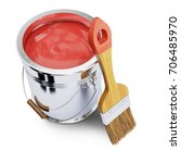 Paint Bucket With Red Paint An...