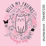 cat graphic for t shirt | Shutterstock .eps vector #706487230