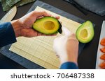 avocado being prepared for sushi   Shutterstock . vector #706487338
