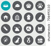 set of 16 pets icons set... | Shutterstock .eps vector #706493110