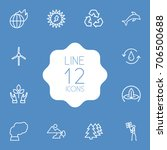 set of 12 ecology outline icons ...