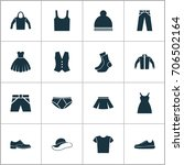 clothes icons set. collection... | Shutterstock .eps vector #706502164