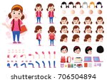 little girl student character... | Shutterstock .eps vector #706504894