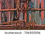 old train boxcar door wood... | Shutterstock . vector #706505506