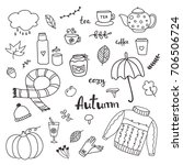 set of hand drawn doodle... | Shutterstock .eps vector #706506724