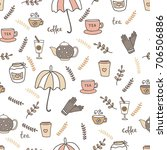 autumn seamless pattern with... | Shutterstock .eps vector #706506886