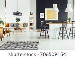 black designed lamp above... | Shutterstock . vector #706509154