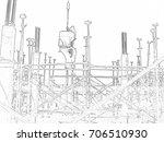 construction activities and... | Shutterstock . vector #706510930