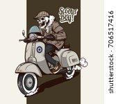 skeleton driving a vintage... | Shutterstock .eps vector #706517416