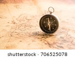 compass on old map vintage style   Shutterstock . vector #706525078