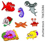 cartoon sea animals | Shutterstock .eps vector #70652686