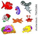 cartoon sea animals isolated on ... | Shutterstock .eps vector #70652686
