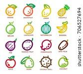fruit thin line icon set vector ... | Shutterstock .eps vector #706527694