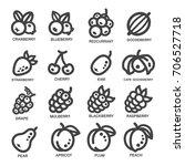 fruit thin line icon set vector ... | Shutterstock .eps vector #706527718