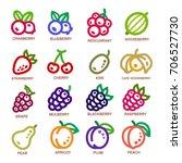 fruit thin line icon set vector ... | Shutterstock .eps vector #706527730