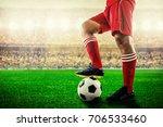 feet of red team football... | Shutterstock . vector #706533460
