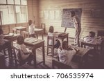 a vintage image of a classroom... | Shutterstock . vector #706535974