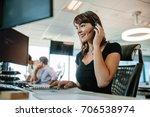 call center business woman... | Shutterstock . vector #706538974
