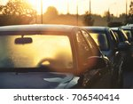 many cars with frozen glasses... | Shutterstock . vector #706540414