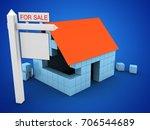 3d illustration of block house...   Shutterstock . vector #706544689