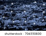 city scape with network... | Shutterstock . vector #706550830