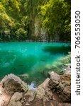 amazing emerald pool in lampang ... | Shutterstock . vector #706553050